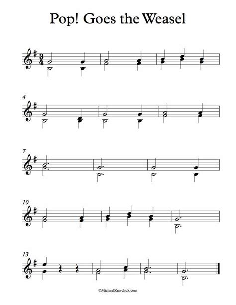 Check out our list of sheet music by popular singers! Free Violin Duet Sheet Music - Pop! Goes The Weasel - Michael Kravchuk