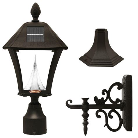 gama sonic baytown solar black outdoor post wall light