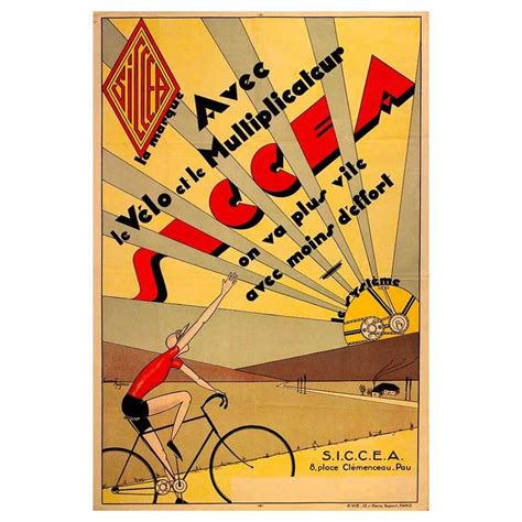 deco posters for sale original vintage deco cycling poster advertising siccea bicycle systems for sale at 1stdibs