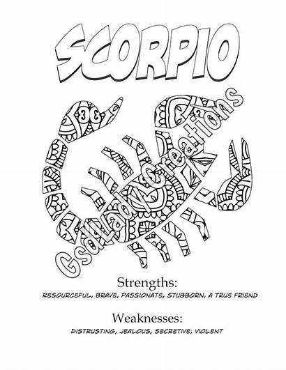 Zodiac Coloring Scorpio Sign Star Pages Astrology