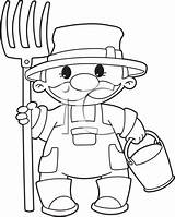 Farmer Clipart Illustration Clip Outlined Pitchfork Bucket Farming Royalty Agriculture sketch template