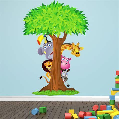 Wandtattoo Kinderzimmer Mädchen Baum by Wandtattoo Dschungel Tiere Baum 115x165cm Comic Kinder