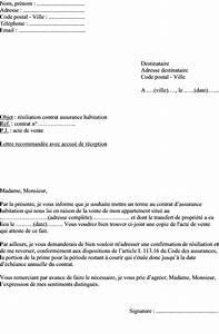 Modèle Résiliation Assurance : mod le de lettre r siliation assurance habitation vente d un appartement ~ Gottalentnigeria.com Avis de Voitures