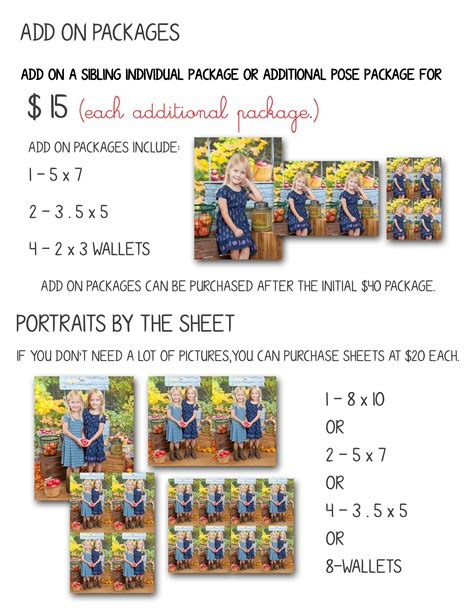 preschool packages and prices 187 photographic memories 225 | Pricing 2