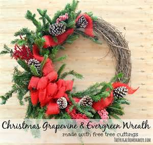 christmas grapevine evergreen wreath made with free tree cuttings