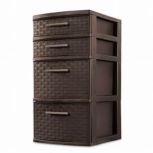 Sterilite, 4, Drawer, Organizer, Storage, Tower, With, Medium, Weave, Brown, 2, Pack