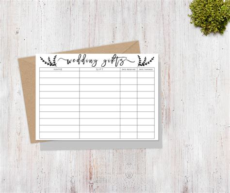 buying gifts tracker sheet wedding gift tracker sheet printable wedding thank you gift