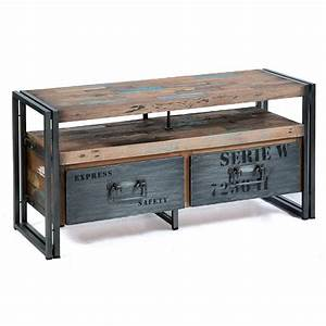 meuble tv industriel factory 2 tiroirs bois et metal With meuble industriel maison du monde