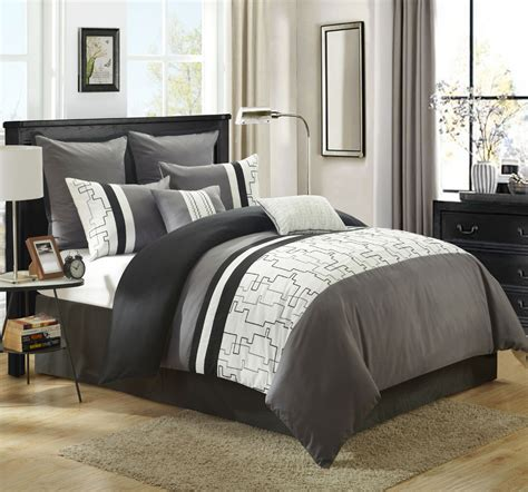 8 piece miami gray white comforter set