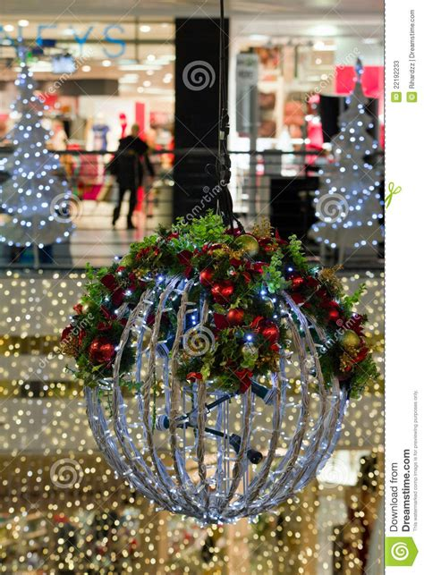 shop interior  christmas decorations detail stock