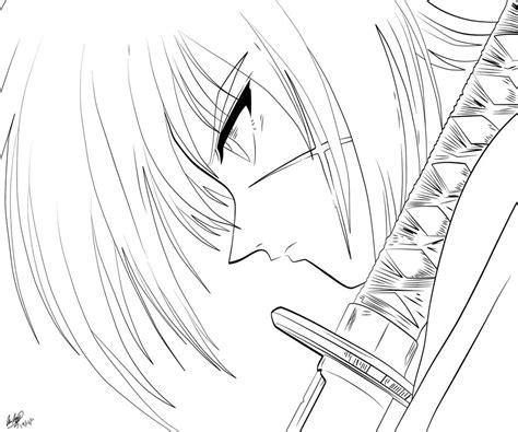 mewarnai sketsa gambar samurai x terbaru
