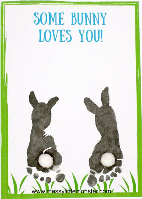 footprint bunny craft  printable keepsake card