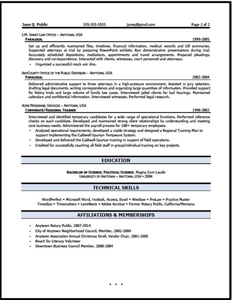 paralegal resume exle paralegal resumes updated
