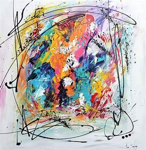 Tableau Contemporain Grand Format : tableau multicolore colore de style abstrait contemporain ~ Teatrodelosmanantiales.com Idées de Décoration