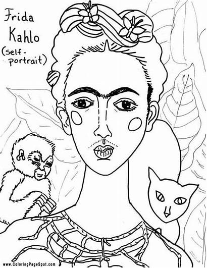Coloring Famous Frida Kahlo Pages Diego Hispanic