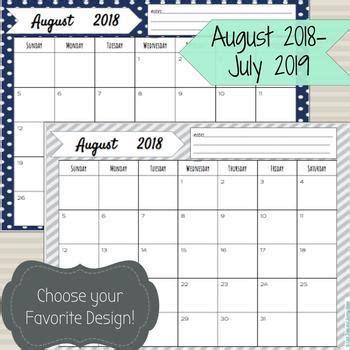 editable printable calendar tpt