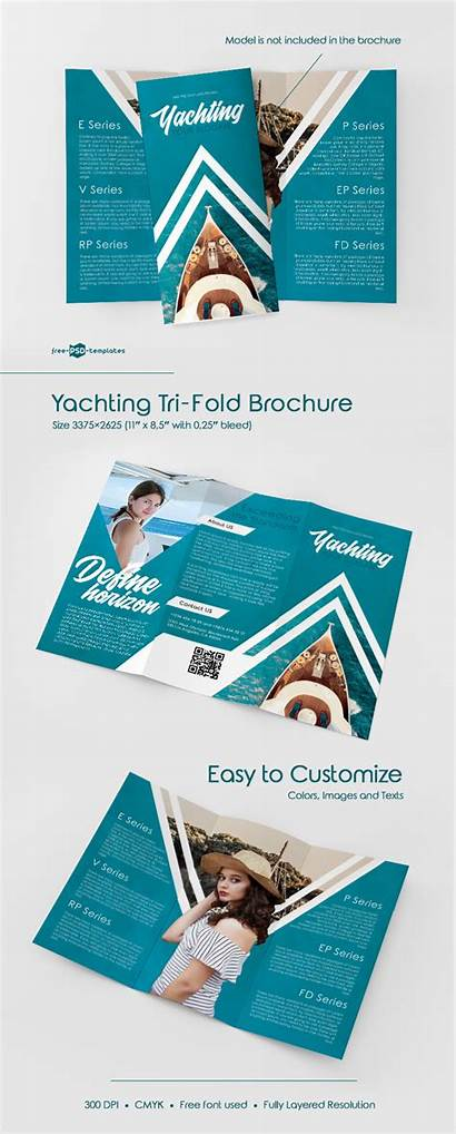 Brochure Psd Tri Fold Templates Yachting Template