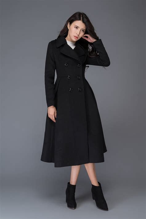 dress wanita unique black wool coat winter wool coat black wool coat wool