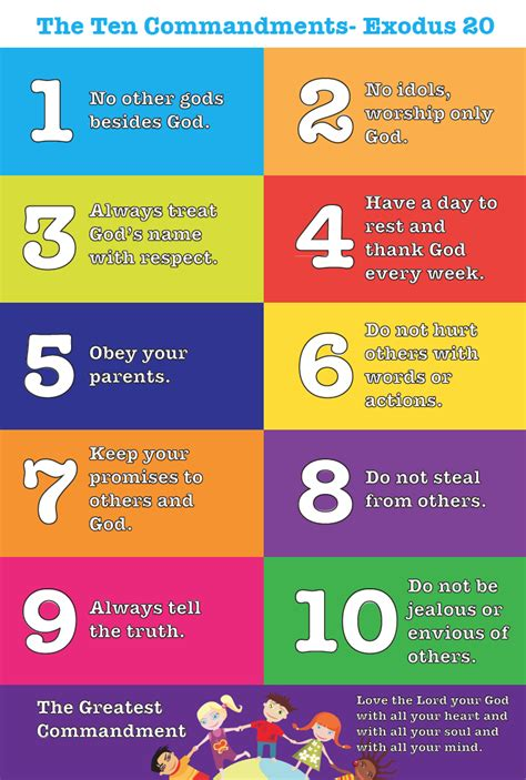 The ten commandments are spread out over the. Teach the Ten Commandments to Kids - FREE Printable