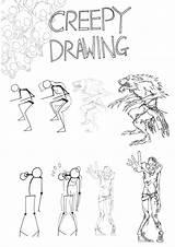 Creepy Monster Drawings Sketch Coloring Galleryhip Credit Larger sketch template