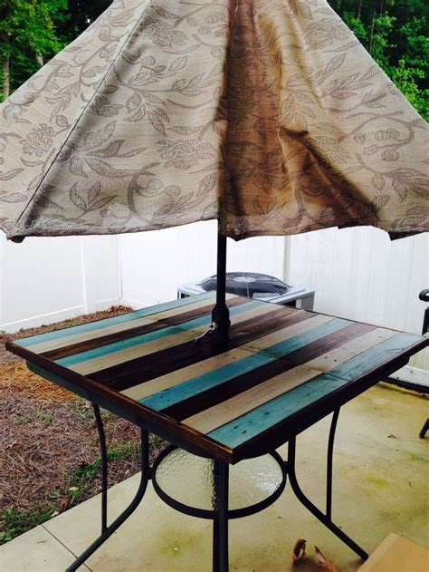 shattered glass patio table fixed  ply board