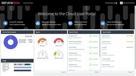cloud portal servicenow cloud management quintica market place