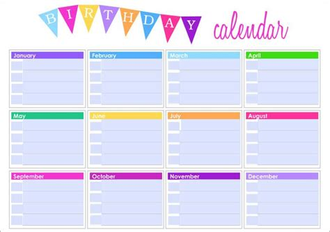 birthday calendar calendar template calendar template