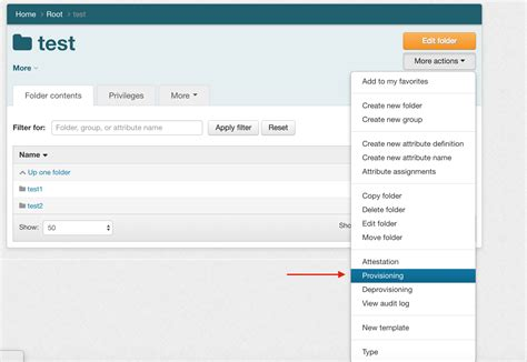 provisioning grouper ui internet2 actions access button