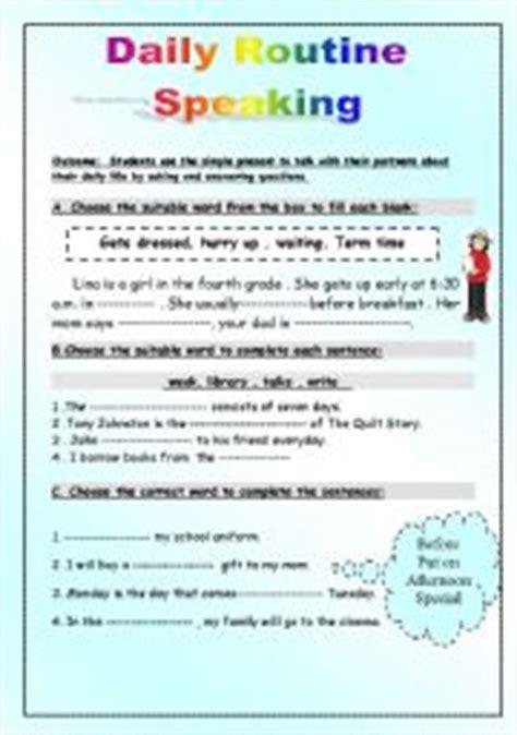 english worksheet daily routine speaking