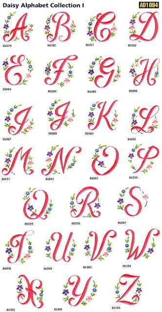 sweet  embroidery daisy alphabet  embroidery embroidery machine projects  pattern