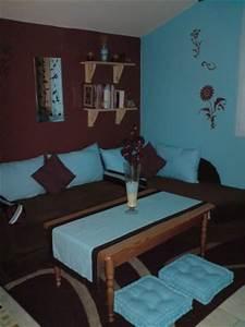 chambre avec coin salon turquoise et marron dco With chambre marron et turquoise