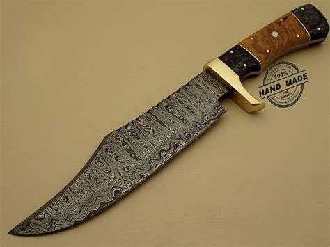 folding kitchen rambo damascus bowie knife custom handmade damascus steel