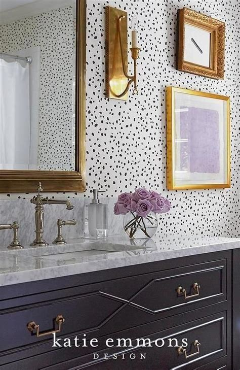 black  white contemporary powder room  gold accents