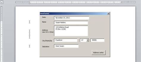 address basic letter with userform 10 steps to creating a word userform for addressing