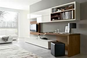 Schreibtisch Im Wohnzimmer : wohnwand mit schreibtisch als arbeitsplatz im wohnzimmer m bel pinterest arbeitspl tze ~ Markanthonyermac.com Haus und Dekorationen