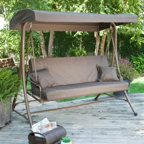 siesta 3 person canopy swing bed chocolate traditional