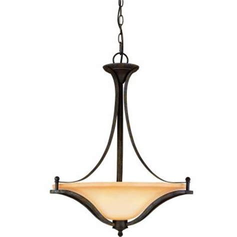 commercial electric 3 light rustic iron pendant