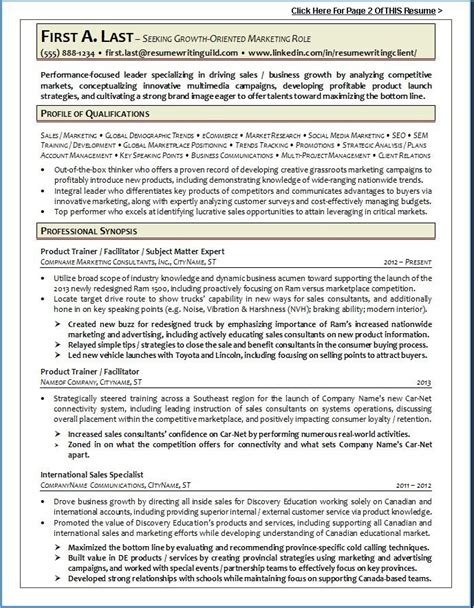 Writing A Professional Resume Sles by Resume Writing Guild Resume Exle 1