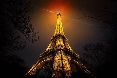 Eiffel Tower Paris Night Gold Lights France