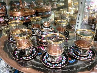 Turkish Tea Cups Arabic Copper Handmade Serving
