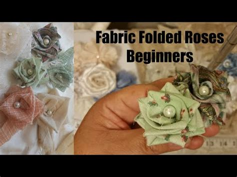 how to make shabby chic flowers out of fabric folded rose 1 no sew shabby chic flower tutorial cotton fabric flower youtube