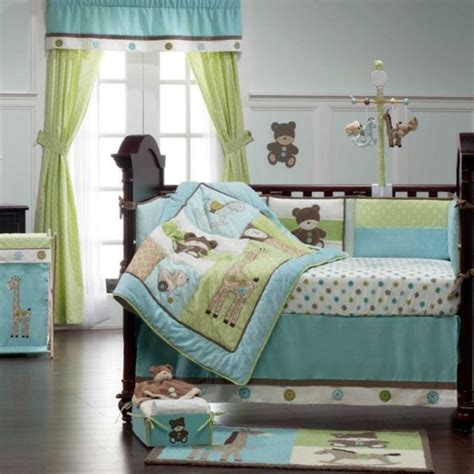 blue green teddy toys neutral baby nursery 9p crib