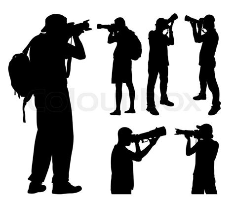 photographers with telephoto lens silhouettes stock vector colourbox