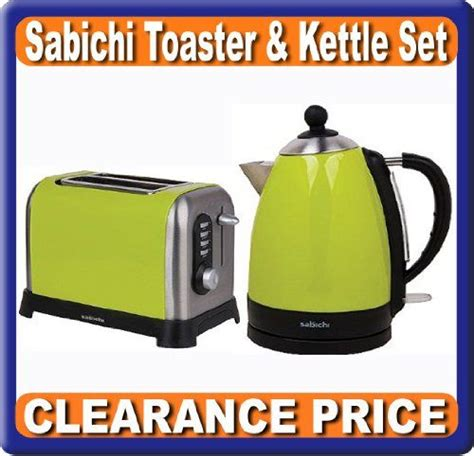 Green Kettle And Toaster Set - set of kettle and toaster breakfast lime green clearance