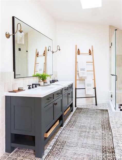 Black Bathroom Fixtures Decorating Ideas by Grey Vanity Ladder Towel Rack Frameless Glass