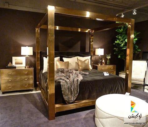 37037 gold canopy bed غرف نوم مودرن باللون الذهبى 2015 ديكورات غرف نوم
