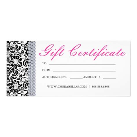 gift certificates salon spa pink crown jewellery rack card