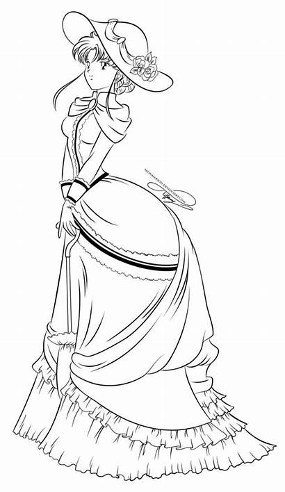 Sailor Coloring Pages Lady Drawing Moon Lineart