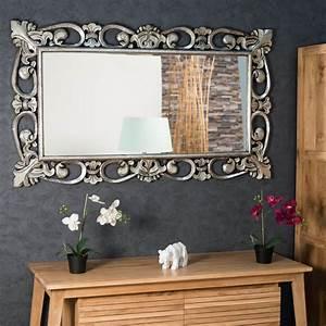 Miroir Baroque Argenté : miroir cordoue en bois patin argent 140 x 80 ~ Teatrodelosmanantiales.com Idées de Décoration