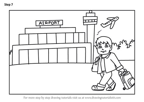 learn   draw traveller  airport scenes step  step drawing tutorials